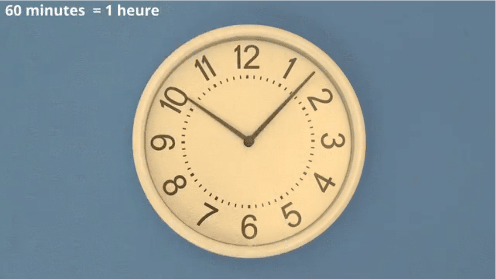 60 minutes = 1 heure