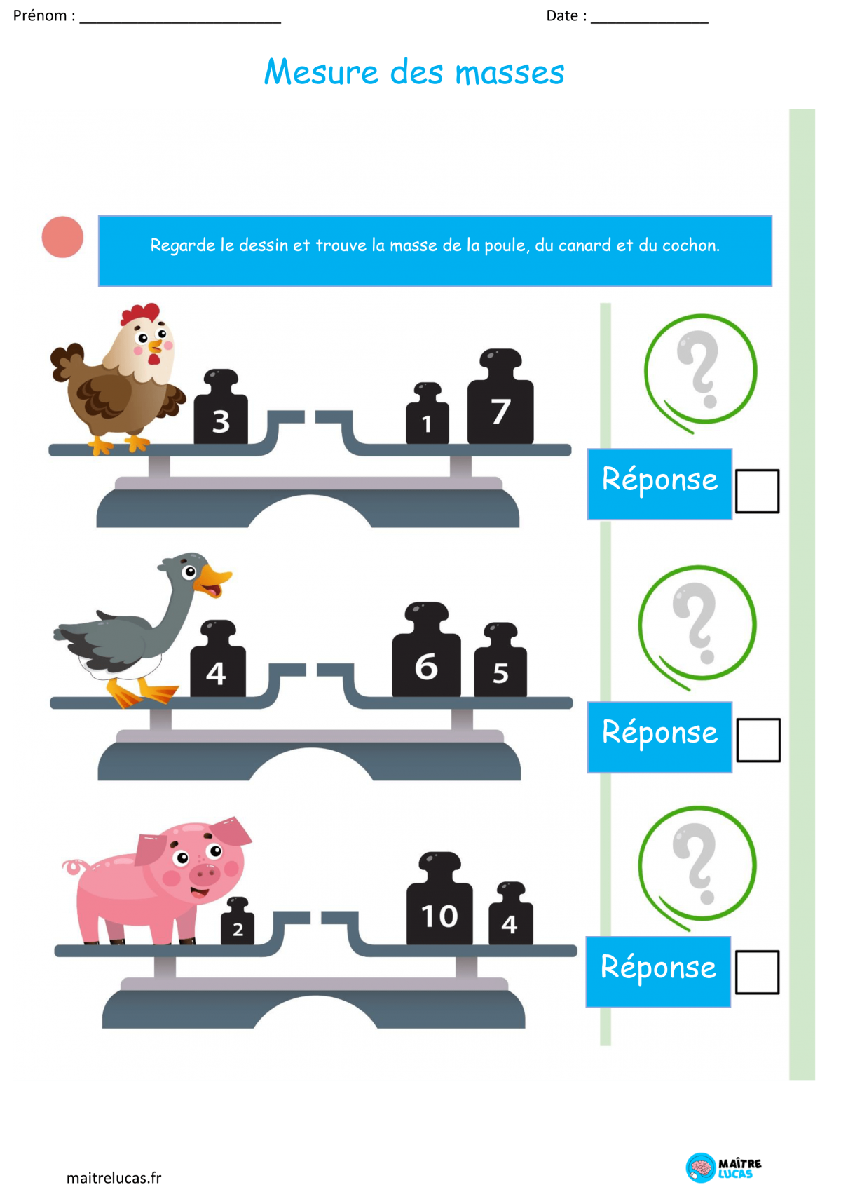 Fiches exercices comparer les masses cp ce1