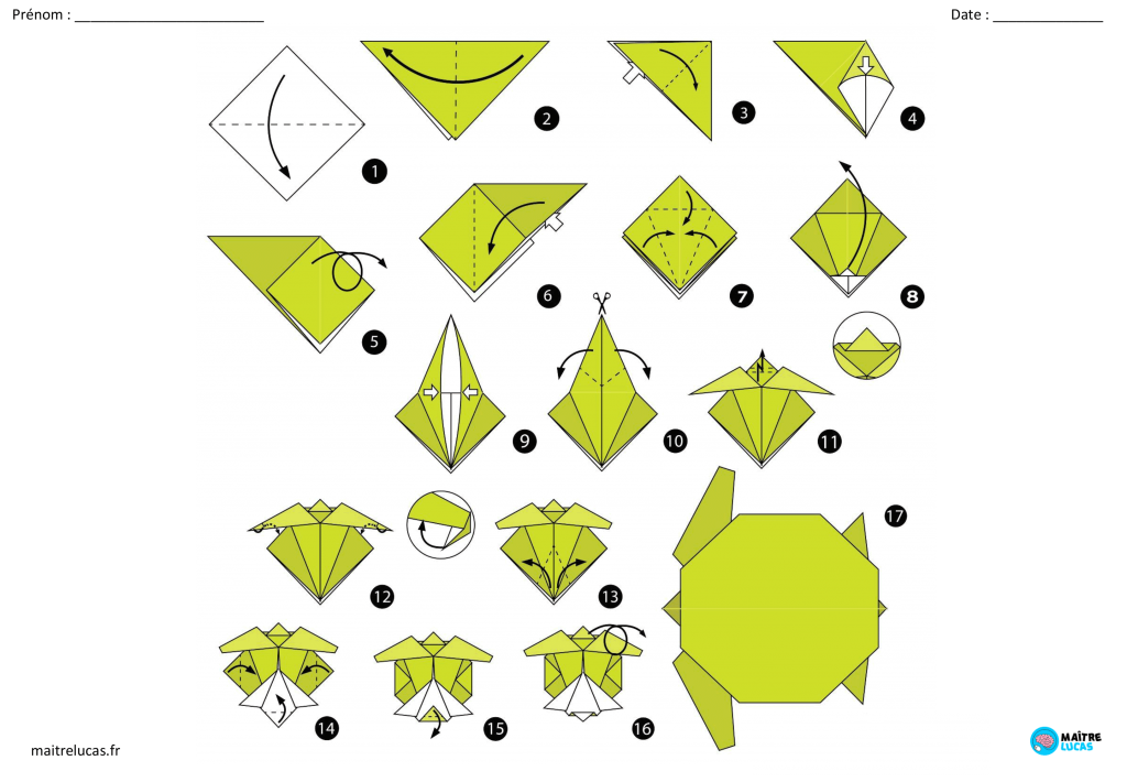 Fiches d'exercices origamis